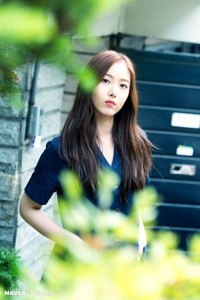 Tags: K-Pop, G-friend, SinB, Blue Outfit, Short Sleeves, Serious, Black Eyes, Plant, Blue Dress, Dispatch, Parallel