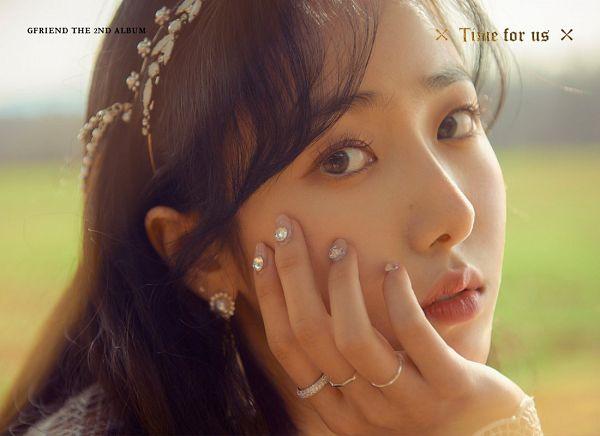 Tags: K-Pop, G-friend, SinB, Ring, Text: Album Name, Serious, Close Up, Hand On Head, English Text, Hair Ornament, Nail Polish, Hand On Cheek