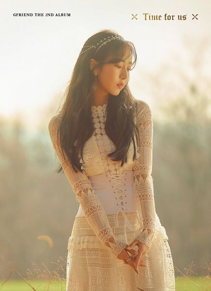Tags: K-Pop, G-friend, SinB, White Outfit, Hair Ornament, English Text, Text: Artist Name, Ring, Text: Album Name, White Dress, Time For Us
