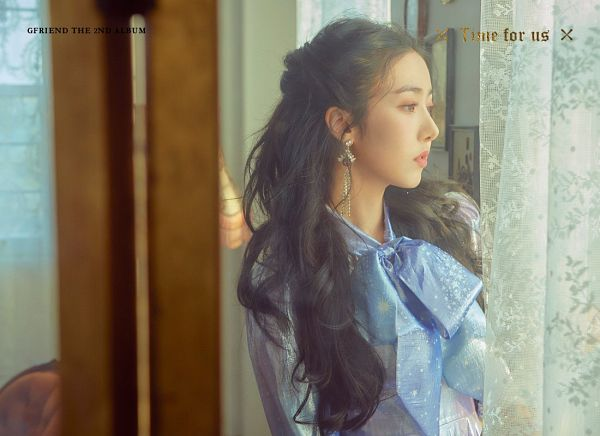 Tags: K-Pop, G-friend, SinB, Bow, Black Eyes, Serious, Blue Bow, Looking Ahead, English Text, Text: Artist Name, Blue Dress, Text: Album Name