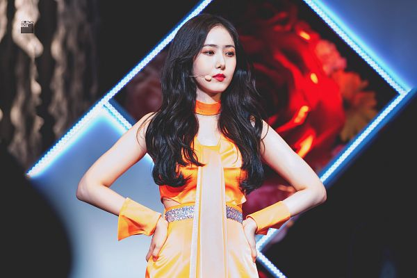 Tags: K-Pop, G-friend, SinB, Hand On Hip, Serious, Orange Outfit, Orange Dress