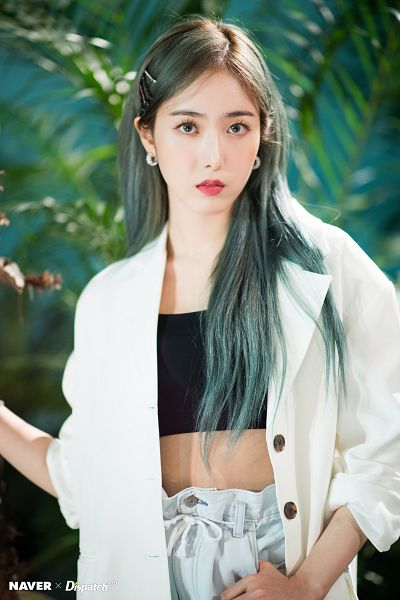 Tags: K-Pop, G-friend, SinB, Plant, White Jacket, Black Shirt, White Outerwear, Serious, Green Hair