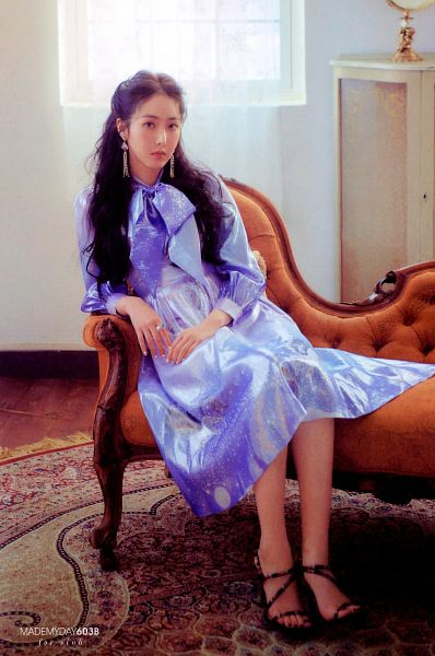 Tags: K-Pop, G-friend, SinB, Blue Outfit, Sitting, Window, Carpet, Serious, Bent Knees, Blue Dress, Ring, Time For Us