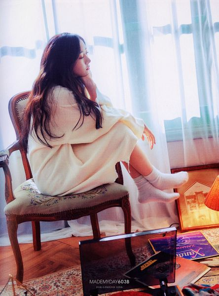 Tags: K-Pop, G-friend, SinB, Looking Down, White Dress, Sitting On Chair, White Outfit, Socks, Curtain, Bent Knees, Chair, Serious