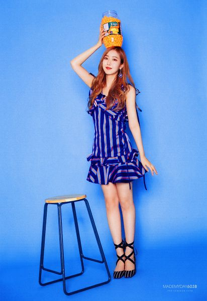 Tags: K-Pop, G-friend, SinB, Blue Background, Blue Dress, Full Body, Fries, Blue Outfit, Stool, Vegetables, Red Lips, Chair