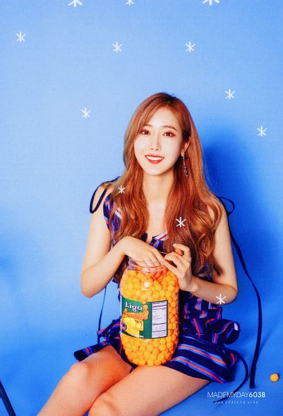 Tags: K-Pop, G-friend, SinB, Vegetables, Blue Outfit, Red Lips, Blue Background, Sitting On Ground, Fries, Blue Dress, Red Hair