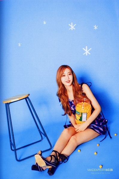 Tags: K-Pop, G-friend, SinB, Blue Background, Sitting On Ground, Stool, Fries, Blue Dress, Red Hair, Vegetables, Blue Outfit, Chair