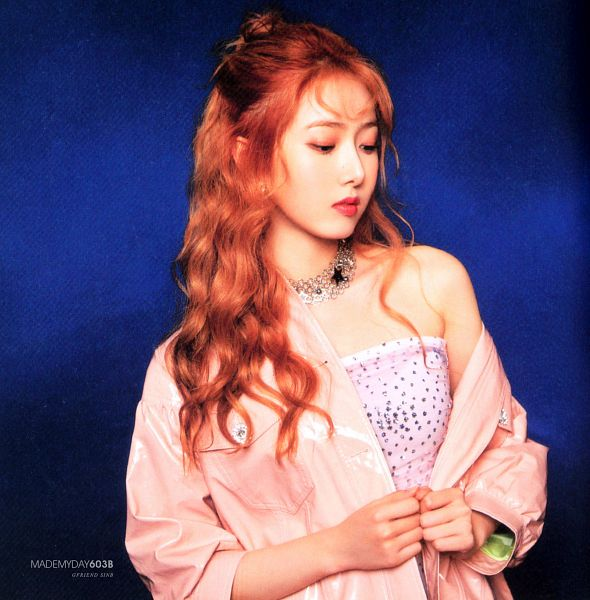 Tags: K-Pop, G-friend, SinB, Red Hair, Pink Outfit, Pink Dress, Red Lips, Pink Outerwear, Blue Background, Pink Jacket, Looking Down, Time for the Moon Night