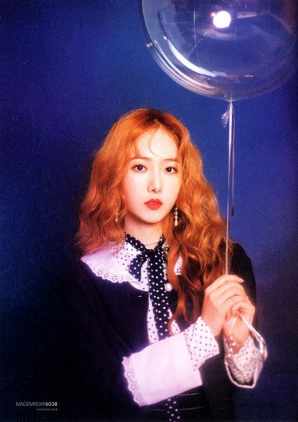 Tags: K-Pop, G-friend, SinB, Blue Background, Serious, Black Outfit, Balloons, Black Dress, Red Lips, Red Hair, Time for the Moon Night