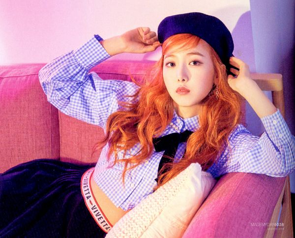 Tags: K-Pop, G-friend, SinB, Couch, Red Hair, Serious, Hat, Laying Down, Time for the Moon Night