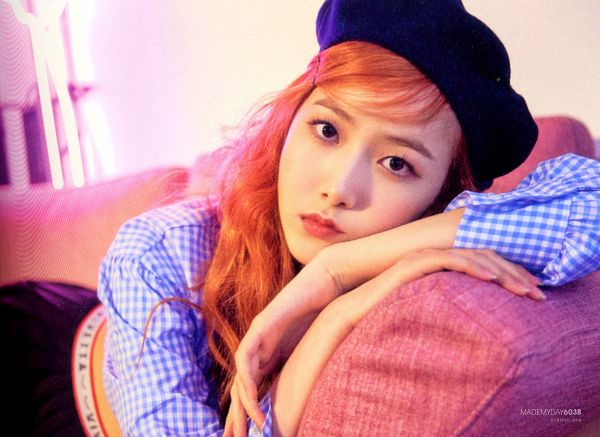 Tags: K-Pop, G-friend, SinB, Laying Down, Couch, Serious, Red Hair, Hat, Laying On Stomach, Time for the Moon Night