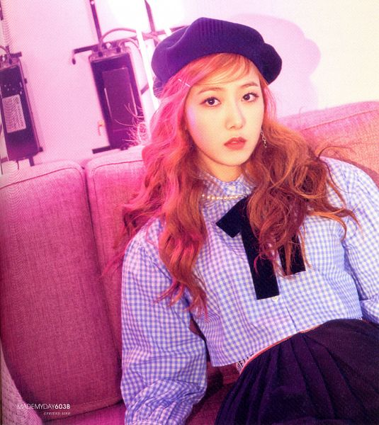 Tags: K-Pop, G-friend, SinB, Hat, Sitting On Couch, Skirt, Hair Ornament, Black Skirt, Serious, Couch, Hair Clip, Red Hair