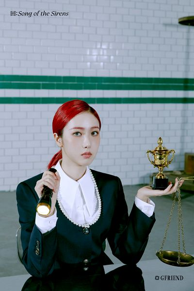 Tags: K-Pop, G-friend, SinB, Serious, Red Hair, Torch, Table, Black Jacket, Hair Up, Scale, Trophy, Ponytail