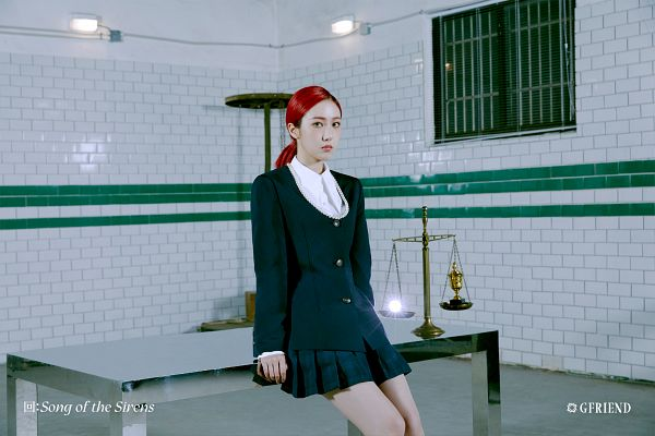 Tags: K-Pop, G-friend, SinB, Table, Black Jacket, Trophy, Hair Up, Scale, Serious, Ponytail, Window, Skirt