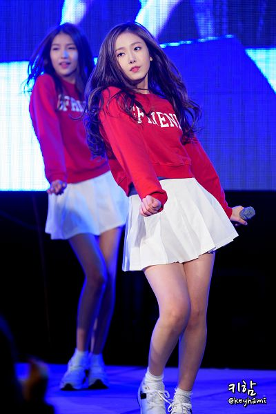 Tags: K-Pop, G-friend, SinB, Sowon, Socks, White Footwear, Sneakers, Matching Outfit, White Skirt, Looking Away, Red Shirt, Shoes