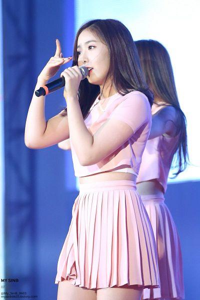 Tags: K-Pop, G-friend, SinB, Singing, V Gesture, Pink Shirt, Microphone, Pink Skirt, Skirt, Short Sleeves, Dancing