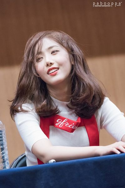 Tags: K-Pop, G-friend, SinB, Table, Suspenders, Bottle, Short Sleeves, Fansigning Event