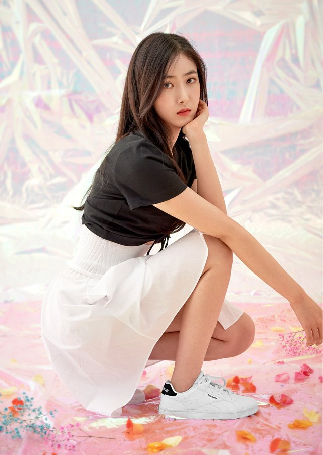 Tags: K-Pop, G-friend, SinB, White Skirt, Serious, Black Shirt, White Footwear, Hand On Head, Hand On Cheek, Crouching, Skirt, Magazine Scan