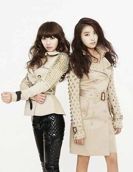 Tags: K-Pop, Sistar, Sistar19, Hyorin, Bora, Duo, Brown Outerwear, Black Pants, Light Background, Two Girls, White Background, Android/iPhone Wallpaper