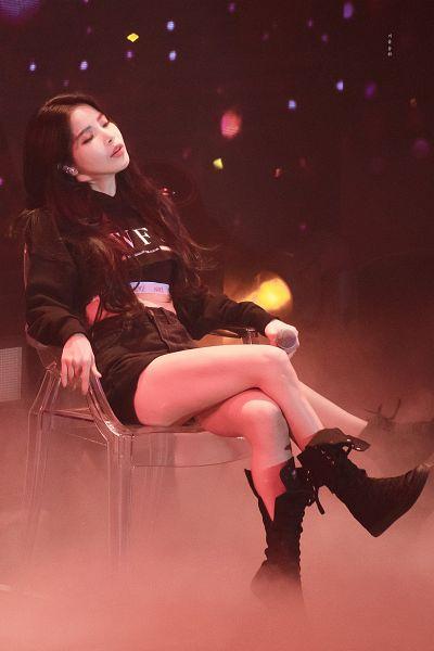 Tags: K-Pop, Mamamoo, Solar, Shorts, Dark Background, Black Jacket, Denim Shorts, Chair, Black Background, Sitting On Chair, Bare Legs, Boots