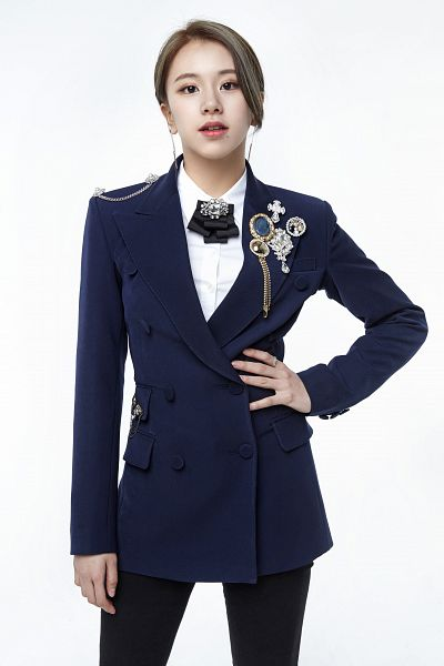 Tags: K-Pop, Twice, Son Chaeyoung, White Background, Hand On Hip, Sitting On Ground, Black Pants, Blue Outerwear, Bow Tie, Black Neckwear, Hair Up, Suit