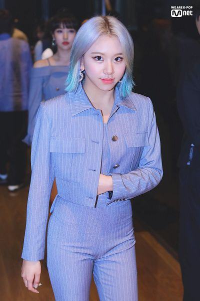 Tags: K-Pop, Twice, Son Chaeyoung, Striped Shirt, Purple Shirt, Striped Outerwear, English Text, Gray Hair, Purple Jacket, Striped, Purple Outerwear, Striped Jacket