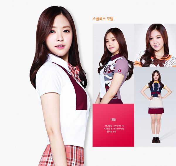 Tags: K-Pop, Apink, Son Na-eun, Spotted, Red Skirt, School Uniform, Korean Text, Checkered, Light Background, Socks, Multiple Persona, Camouflage Print