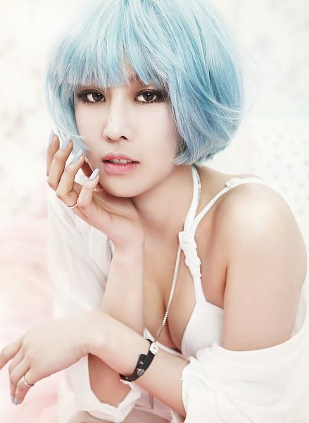Tags: K-Pop, Nine Muses, Drama (Nine Muses), Son Sungah, Blue Hair, Android/iPhone Wallpaper