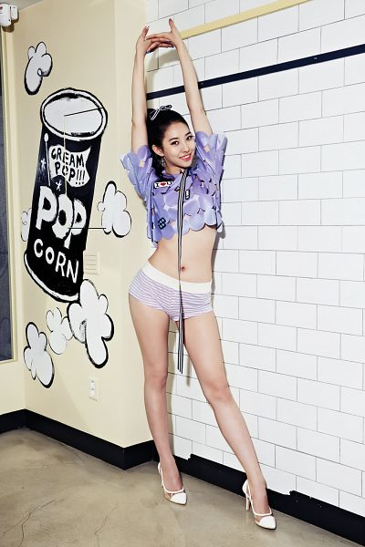 Tags: K-Pop, BESTie, Song Dahye, Midriff, Purple Shirt, Ponytail, Navel, Shorts, Purple Shorts, Arms Up, Android/iPhone Wallpaper