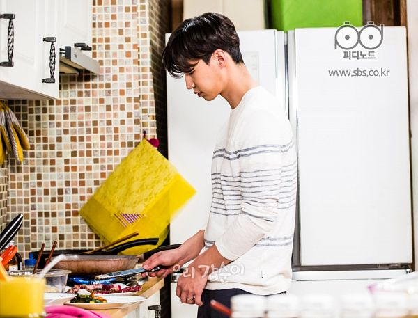Tags: K-Drama, Song Jae-rim, Fridge, Kitchen, Striped, Cooking, Striped Shirt, Food, Our Gap-soon
