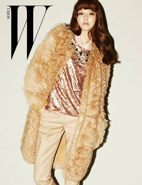 Tags: K-Pop, Girls' Generation, Sooyoung, Text: Magazine Name, Brown Background, Gold Shirt, Brown Pants, Gold Jacket, Magazine Scan, Scan, W Korea