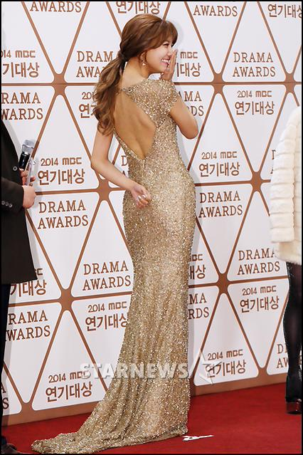 Tags: K-Pop, Girls' Generation, Sooyoung, Covering Mouth, Hair Up, Bare Back, Back, Yellow Dress