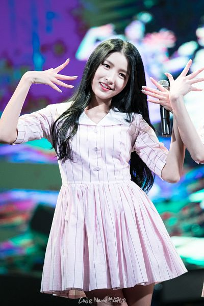 Tags: K-Pop, G-friend, Sowon, Dancing, Pink Outfit, Striped Dress, Holding Object, Striped, Pink Dress, Looking Ahead, Android/iPhone Wallpaper, Live Performance