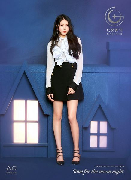 Tags: K-Pop, G-friend, Sowon, High Heels, Blue Background, Skirt, Text: Artist Name, Black Skirt, Text: Album Name, English Text, Black Footwear, Time for the Moon Night