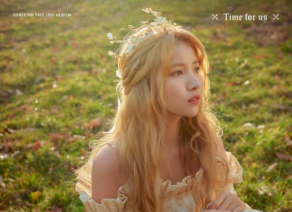 Tags: K-Pop, G-friend, Sowon, Text: Artist Name, English Text, Grass, Text: Album Name, White Dress, Flower Crown, Crown, Flower, Hair Ornament
