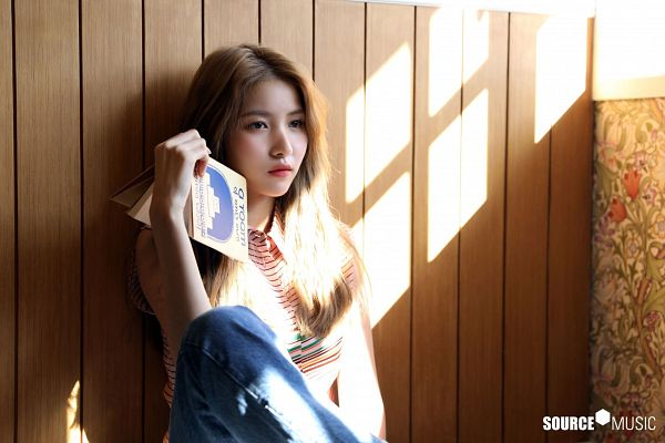 Tags: K-Pop, G-friend, Sowon, Jeans, Text: Company Name, Striped, Book, Sitting On Ground, Striped Shirt, Wood Background, Brown Background