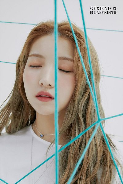 Tags: K-Pop, G-friend, Sowon, White Outfit, Text: Artist Name, White Dress, Text: Album Name, Eyes Closed, Gray Background, Necklace
