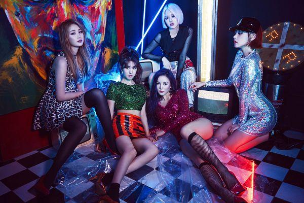 Tags: K-Pop, Spica, Park Narae, Yang Jiwon, Sihyun, Full Body, Full Group, Kim Bohyung, Hat, Midriff, Blonde Hair, Kim Boa