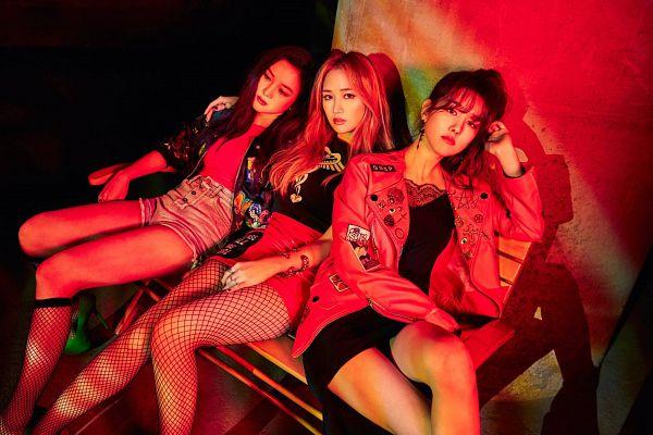 Tags: K-Pop, Spica, Yang Jiwon, Park Narae, Kim Bohyung, Leather Jacket, Black Outfit, Red Outerwear, Black Dress, Hand On Head, Secret Time (Ep), Fishnets