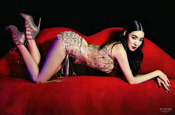Tags: SM Town, K-Pop, Girls' Generation, Stephanie Young Hwang, Butt, Sexy Pose, High Heels, Full Body, Suggestive, Red Lips, Laying Down, Top-down Bottom-up