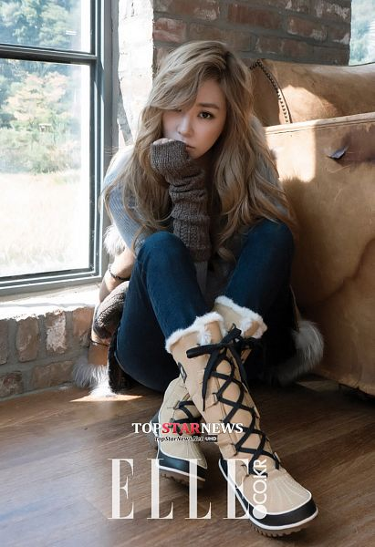 Tags: K-Pop, Girls' Generation, Stephanie Young Hwang, Sweater, Shoes, Window, Brown Outerwear, Jeans, Text: Magazine Name, Sitting On Ground, Couch, Brown Shirt