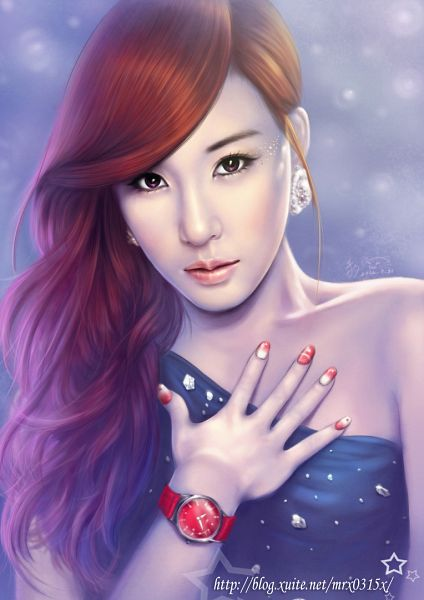 Tags: K-Pop, Girls' Generation, Stephanie Young Hwang, Sleeveless, Hand On Chest, Red Hair, Watch, Fanart