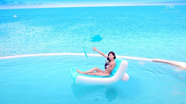 Tags: K-Pop, Girls' Generation, Party (song), Stephanie Young Hwang, Sea, Floral Print, Full Body, Bikini, Floral Dress, Barefoot, Suggestive, Bare Legs