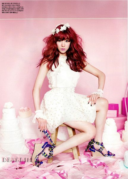 Tags: K-Pop, Girls' Generation, Stephanie Young Hwang, Red Hair, Pink Background, White Dress, Bare Shoulders, High Heels, Korean Text, Sitting On Chair, Hairband, Chair