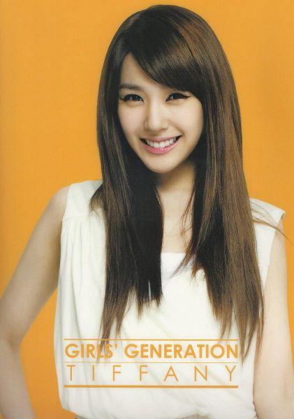 Tags: K-Pop, Girls' Generation, Stephanie Young Hwang, Sleeveless, Text: Artist Name, Bare Shoulders, Hand On Hip, Orange Background, Sleeveless Shirt