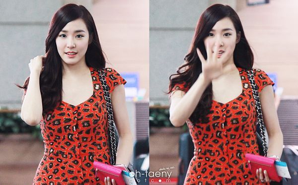 Tags: K-Pop, Girls' Generation, Stephanie Young Hwang, Leopard Print, Hand In Hair, Bag, Red Outfit, Wavy Hair, Animal Print, Red Dress, Oh-taeny