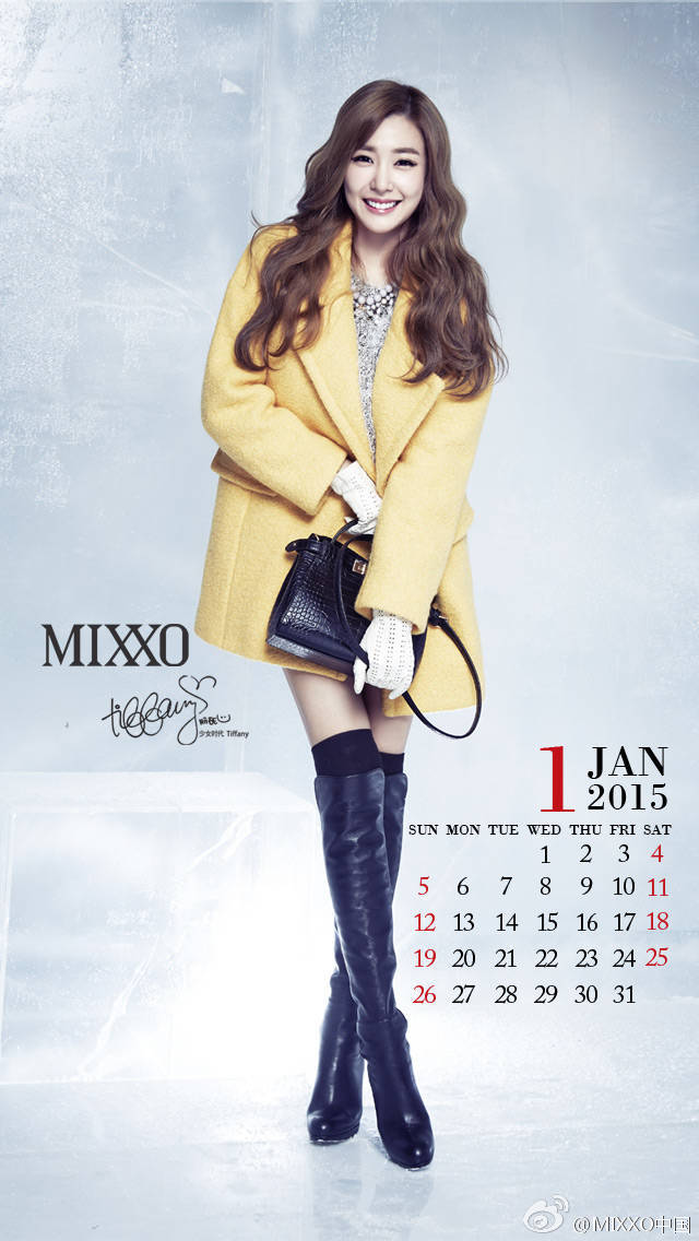 Tags: K-Pop, Girls' Generation, Stephanie Young Hwang, Text: Calendar Date, Wavy Hair, Text: Brand Name, Black Legwear, Yellow Outerwear, Necklace, Ice, White Gloves, Text: Artist Name