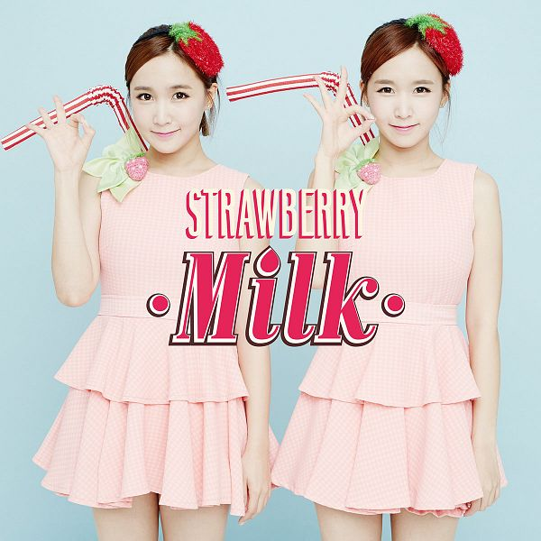 Tags: Strawberry Milk, Crayon Pop, Choa, Way, Two Girls, Straw, Duo, Sisters, Blue Background, Twins, Text: Artist Name, Pink Dress
