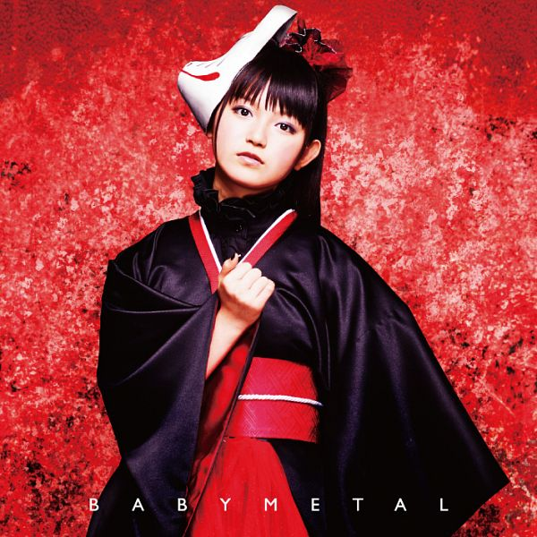 Tags: J-Pop, Babymetal, Su-metal, Traditional Clothes, Ponytail, Black Outfit, Red Headwear, Mask, Red Background, Text: Artist Name, Kimono, Blunt Bangs