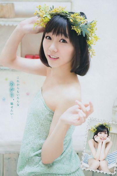 Tags: J-Pop, AKB48, Suda Akari, Flower, Blue Dress, White Background, Hair Ornament, Blue Outfit, Medium Hair, Bare Shoulders, Flower Crown, Sleeveless